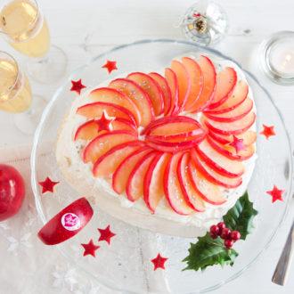 Pavlova aux pommes Pink Lady caramélisées